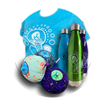 Image of shirt, waterbottles, and cloth breasts